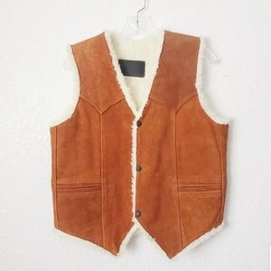 70s Vintage Suede Leather Shearling Lined Vest